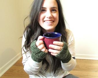 Knit Fingerless Mitts, Fingerless Mittens, Fingerless Gloves, Wristlets, Wool Mittens, Wrist Warmers, Green Mittens, Gift for Her