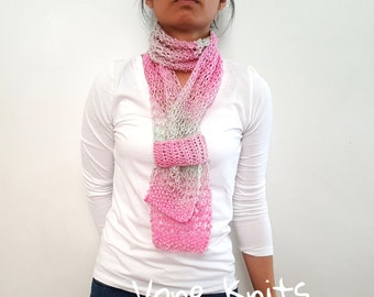 Pink Skinny Scarf, Pink And Green, Knit Scarf, Spring Gift, Spring Scarf, Pretty In Pink, Gift Under 20, Gift For Her, Boho Chic, Summer