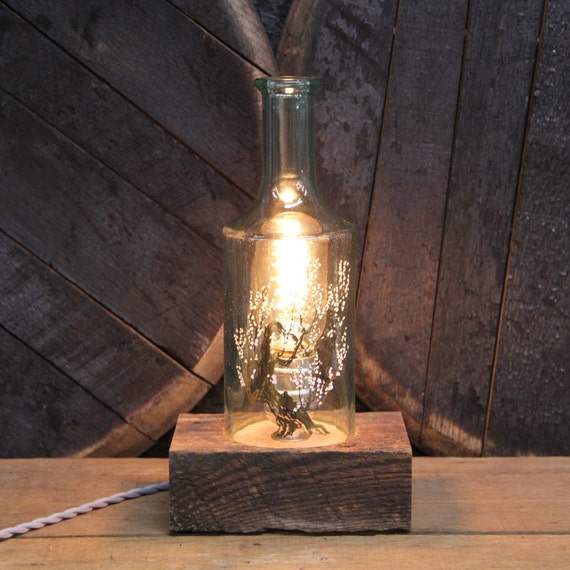 Handmade Recycled Antique Old Fitzgerald Whiskey Bottle Desk Lamp, Features Reclaimed Wood Base, Twisted Cloth Wire, In line Switch, & Plug