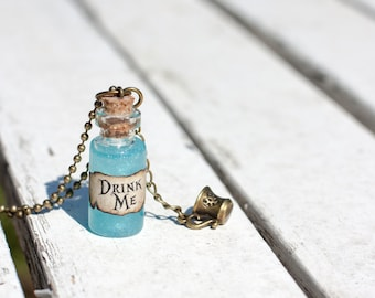 Drink Me Necklace, Alice in Wonderland Jewelry, Drink me Bottle, Mini Bottle Necklace, Drink Me Bottle Charm, Glass Bottle Necklace