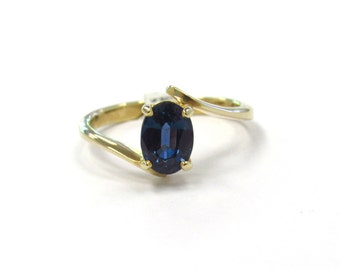 14k Yellow Gold Natural Intense Ocean Blue Sapphire Stackable Bypass Ring, size 6, September birthstone