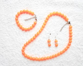 Orange Set with necklace, bracelet and earrings, orange jewelry set, Handmade glass beads, Jewelry party, Anniversary gifts, Gift ideas