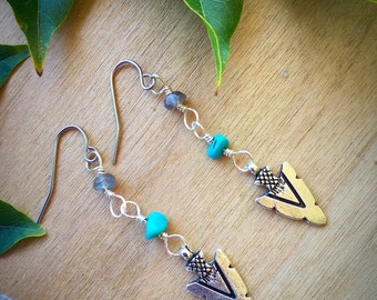 Arrowhead earrings > turquoise labradorite surgical steel