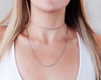 Oxidized Silver Choker Chain, Simple Choker, Sterling Silver Choker Necklace, Choker Collar Necklace, Dainty Choker, Minimal Silver Necklace