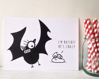 Funny halloween art print  'batshit crazy' illustration print, unique, quirky present Ready to ship