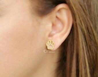 PAW EARRINGS 24K, dog breeds, puppies, pet lovers, earrings for women, unique jewelry, Jewelry, stud earrings, dog lovers, hush puppies