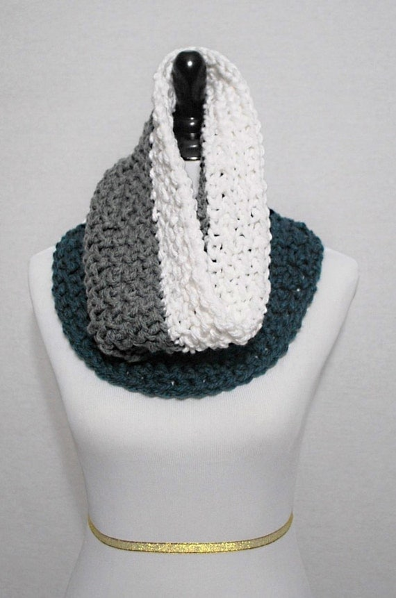Teal, Grey and White Crochet Scarf, Chunky Striped Cowl, Dark Green Striped Neck Warmer, Green and Grey Infinity Scarf, Gray Striped Snood
