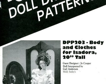 "FREE US SHIP Poissot Doll Dress Pattern dpp203 Body & Clothes for Isadora 20"" tall Sewing Pattern  Insert From Dollcrafter Vintage Magazine"
