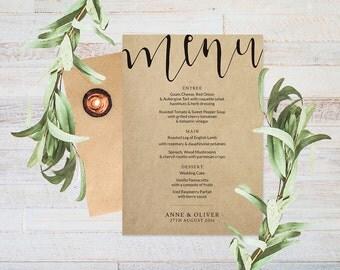 Rustic wedding menu printable wedding menu, Menu design, Wedding decor, Wedding stationery, Printable menu, Wedding reception decor
