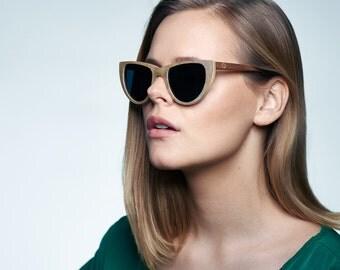Slate Cateye Sunglasses, Light stone and maple Sunglasses, STONE Polarized Sunglasses | Eyewear for Women | Womens Eyewear