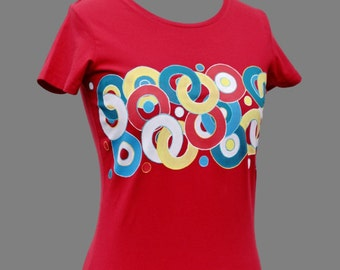 Hand painted T-shirt,Circle,Abstract,Colourful,original,hand made t shirt,T shirt for woman,present for girl,unique t shirts,made to order