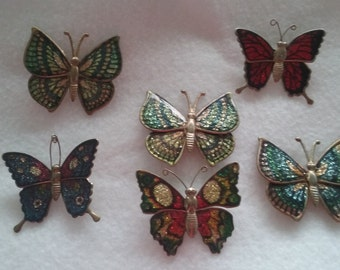 6 - vintage butterfly brooch pin.