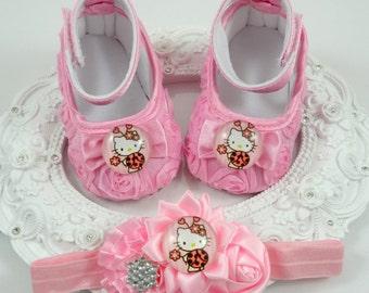 Baby Girl Crib Shoes and Headband Set, Newborn Baby Girl Shoes, Shower Gift, Gift for Baby, Baby Accessories