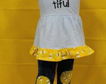 Toddler girl spring pant outfit, Bumble bee shirt, Personalized bumble bee shirt , Toddler girls ruffled jeans, Toddler girl ruffled legging