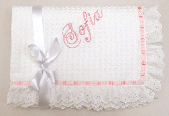Monogrammed Baby Gifts Australia : Items similar to christening baby blanket white cotton
