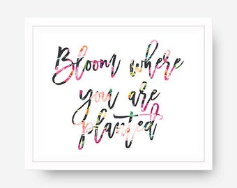 Inspirational Wall Art What Bloom where you are planted for Printable Quote Calligraphy Typography Dorm Wall Art Office Decor Floral font