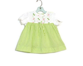 Vintage Baby Girl Dress / Green & White Checkered Baby Clothes