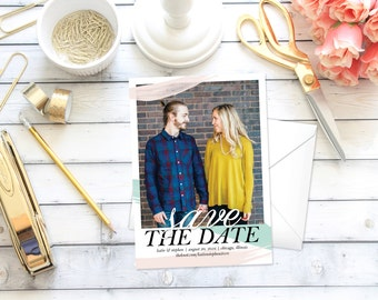 Save the Date Announcement   Save the Date   Invitation   Paint Brush   One Photo   DIY   Printable