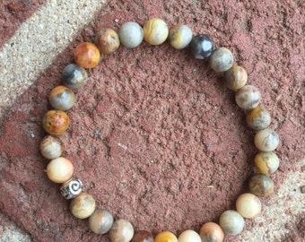 Crazy Lace Agate Stretch Bracelet - Crazy Lace Agate - Crazy Lace Agate Bracelet - Crazy Lace - Crazy Lace Agate Jewelry - Gemstone Bracelet