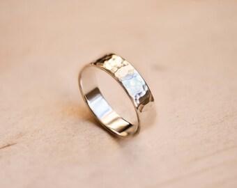Hammered Argentium Silver Ring
