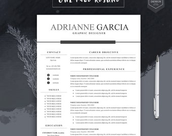 4pack professional resume templates for word free cover letter references instant download - Two Page Resume Sample
