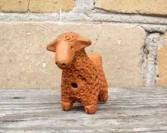 Ceramic Whistle Lamb, Handmade Pottery Whistle, Clay Whistle, Soviet Ceramic Toy