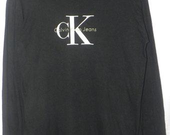 Mint 90s//Calvin Klein Jeans//CKJ//Big Logo//American Designer//Long Sleeve Shirt//Size S/M//Made In USA