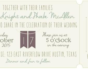 Custom Printable Vintage Ticket Style Wedding Invitation