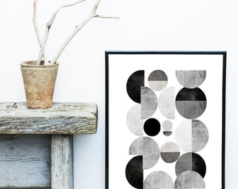 Grey And White, Minimalist Art Print, Abstract  Art, Printable Art, Watercolor Painting, Modern Art, Wall Decor, Wall Art, Instant Download