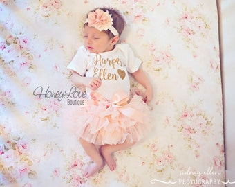 PERSONALIZED name gold glitter shirt bodysuit, peach ruffle tutu skirt bloomers flower headband, newborn baby girl take home hospital outfit