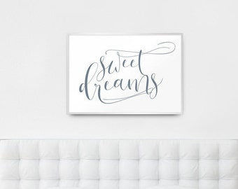 "Digital Download - ""Sweet dreams"" Soft Grey Calligraphy Type Graphic Art Print  - Instant Download, Printable to A3"