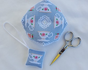 Afternoon Tea Biscornu and Scissor Fob cross stitch - pattern only