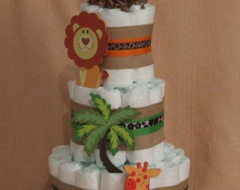 3 Tier Diaper Cake Safari Funfari Jungle Zoo Animals Themes Baby Shower Centerpieces
