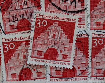 30 German Nordertor Gate Postage Stamps // Germany // Vintage 1950s // Building // Decoupage // Ephemera // Craft Supply // Travel Journal