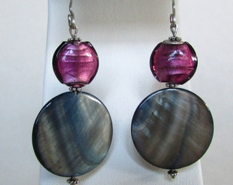 Grey Shell and Purple Dichroic Glass Disc Earrings