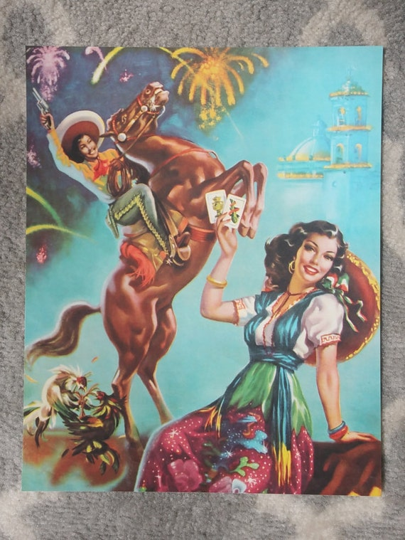 Mexican Calendar Girl Art : Items similar to vintage mexican calendar art juan
