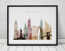 New York watercolor print, watercolor poster, Wall art, New York skyline, cities poster, typography art, digital watercolor ART PRINTS VICKY