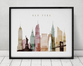 New York watercolor print, watercolor poster, Wall art, New York skyline, cities poster, typography art, digital watercolor ArtPrintsVicky.