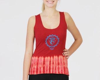 Tie-Dye Women's Chakra Tank Top-Yoga Vishuddha Burgundy,Scoop Neck,Fitted Top-Stretch Cotton,Slim Fit Activewear Garment.
