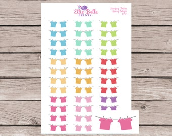 Hanging Clothes Line / Laundry / Washing Sticker | Planner Stickers | Happy Planner, Erin Condren, Plum Planner - 177