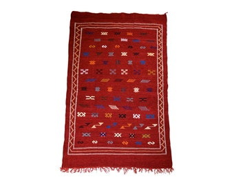 Moroccan Plush Rug, Colourful Velour Rug, Bohemian Rug, Moroccan Decor, Bohemian Decor, Ethnic Tribal Rug, Red Moroccan Rug, Boho Style