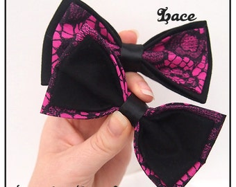 Bright Pink and Black Lace Hair Bow / Bow Tie (Single) - Twin Pack