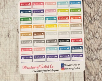 MINI SIZE Birthday Boxes Planner Stickers in Mulit-Color -Planners//Personal Size  Planner