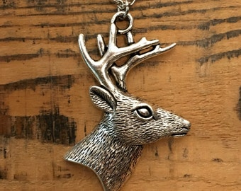 Silver Deer Pendant Necklace