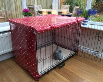 Large Dog Crate Cover - Custom Crate Cover - Red Oilcloth - Polka Dot Oilcloth - Dog Accessories - Dog Bed Cover - Pet Crate Cover - Dog