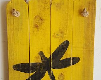 Rustic, handmade dragonfly wall hanging