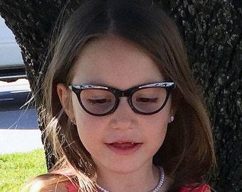 Vintage Eyeglasses, Black Horned Rimmed Children's Eye Frames, Cat Eye Silver Decorative Shuron Eye-wear, Optical Eyeglasses, Mad Men Style