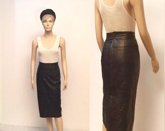 Vintage D&G Leather High Waisted Pencil Skirt