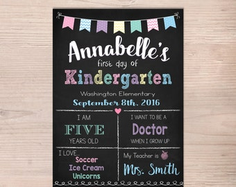First day of School Sign, First Day of Kindergarten Sign, Girl Preschool Pre-K Chalkboard Poster, 1st Day School, Printable, Any Grade