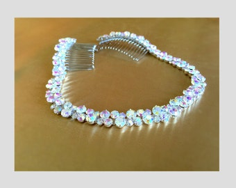 Rhinestone Bridal Headpiece, AB Crystal Hair Tiara, AB Bridal Headband, Wedding Headband, Wedding Hair Tiara, Prom Headband